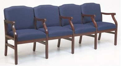 Picture of - Reception Lounge Traditional 4 Chair Modular Tandem Seating with Arms