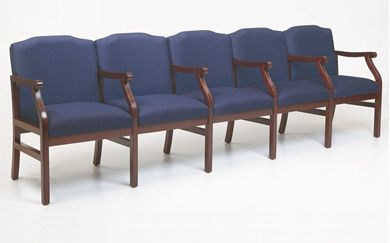 Picture of - Reception Lounge Traditional 5 Chair Modular Tandem Seating with Arms