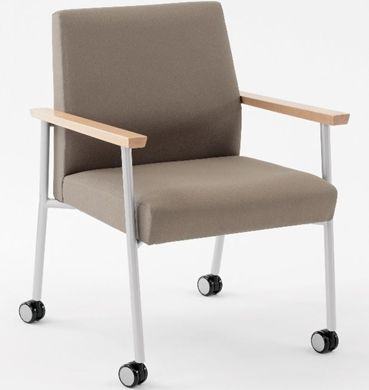 Picture of Wallsaver Reception Lounge Contemporary Steel Oversized Mobile Guest Arm Chair, 400 LBS.