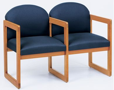 Picture of Sled Base Reception Lounge 2 Chair Wood Modular Tandem Seating with Arms
