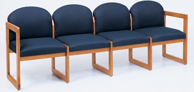 Picture of Sled Base Reception Lounge 4 Chair Wood Modular Tandem Seating