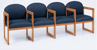 Picture of Sled Base Reception Lounge 4 Chair Wood Modular Tandem Seating with Arms