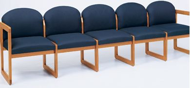 Picture of Sled Base Reception Lounge 5 Chair Wood Modular Tandem Seating