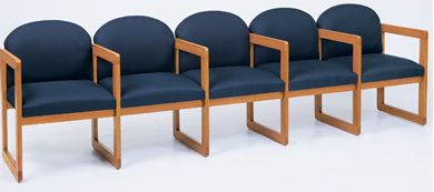 Picture of Sled Base Reception Lounge 5 Chair Wood Modular Tandem Seating with Arms