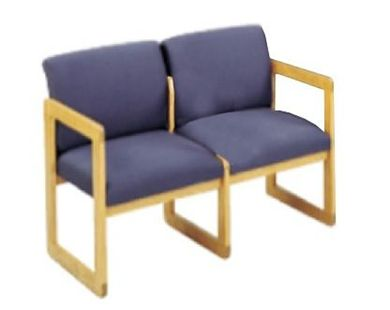 Picture of Sled Base Reception Lounge Contemporary 2 Chair Wood Modular Tandem Seating