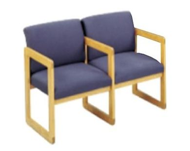 Picture of Sled Base Reception Lounge Contemporary 2 Chair Wood Modular Tandem Seating with Arms
