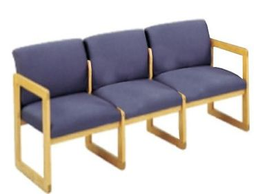 Picture of Sled Base Reception Lounge Contemporary 3 Chair Wood Modular Tandem Seating with Arms