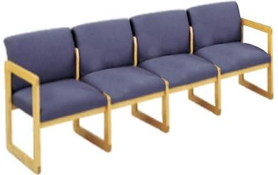Picture of Sled Base Reception Lounge Contemporary 4 Chair Wood Modular Tandem Seating