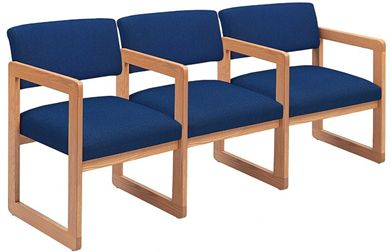 Picture of Sled Base Reception Lounge Contemporary 3 Chair Modular Tandem Seating with Arms