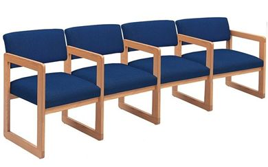 Picture of Sled Base Reception Lounge Contemporary 4 Chair Modular Tandem Seating with Arms