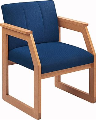 Picture of Wood Frame Sled Base Reception Lounge Guest Arm Chair