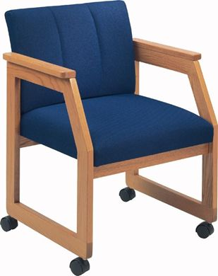 Picture of Wood Frame Sled Base Reception Lounge Mobile Guest Arm Chair