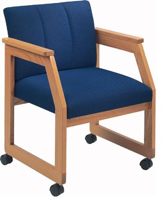 Picture of Contemporary Mobile Sled Base Guest Side Visitor Reception Wood Arm Chair