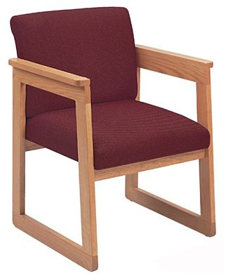 Picture of Contemporary Sled Base Guest Side Visitor Reception Wood Arm Chair