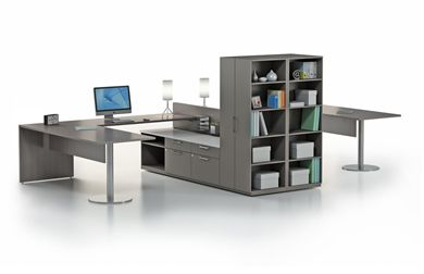 Picture of 2 Person Shared L Shape Desk with Lateral File and Storage
