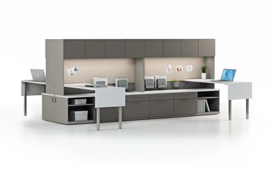 Picture of 4 Person L Shape Shared Contemporary Office Desk Workstation with Filing Storage