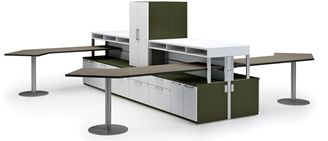 Picture of 4 Person L Shape Shared Contemporary Office Desk Workstation with Filing Storage and Locking Doors