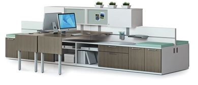 Picture of 4 Person Shared Contemporary L Shape Office Desk Workstation with Filing and Overhead Storage