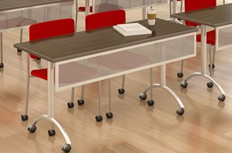 """Picture of 18"""" x 96"""" Nesting Mobile Training Table with Metal Modesty"""