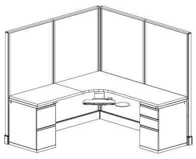 "Picture of 72"" x 72"" Corner Curve Privacy Cubicle Office Workstation"