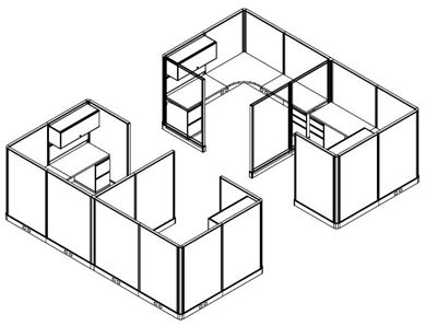 Picture of 2 Sets of Cluster of 2 Person L Shape Office Cubicle Workstation with Filing
