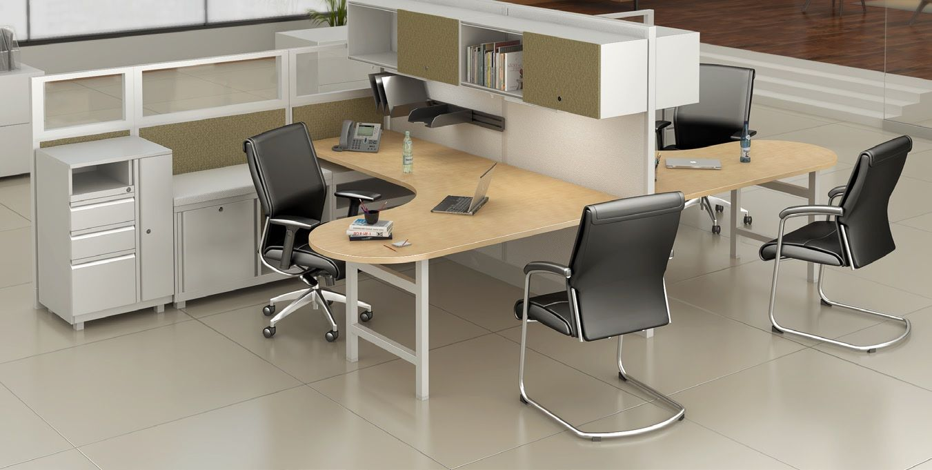 Cluster of 2 Person, Contemporary U Shape Cubicle Office Desk Workstation  with Filing and Wardrobe