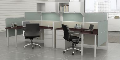 Picture of Cluster of 2 Person Contemporary Cubicle Curve Desk Workstation with Filing and Storage