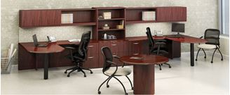 Picture of 2 Person Shared L Shape Office Desk Workstation with Wall Mount Storage, Lateral Bookcase File and Conference Table