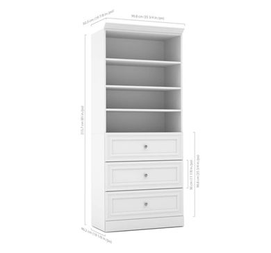 """Picture of  36""""W Open Shelf Storage Unit With 3 Drawer Set"""