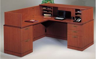 "Picture of 66"" L Shape Reception Desk Workstation with Filing Cabinets"
