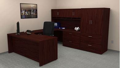"Picture of 72"" Executive U Shape Curve Office Desk Workstation with Closed Overhead with Lateral Filing Storage"