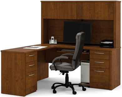 Picture of  L-Shaped Workstation Kit with 4 Utility Drawers and 2 Filing Drawers