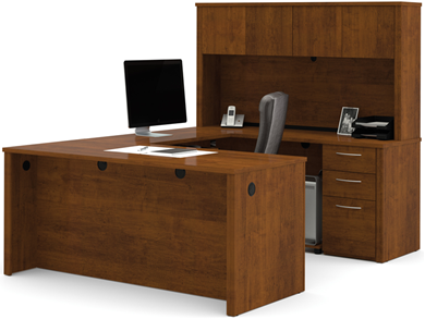 Picture of U Shape Office Desk Set Workstation with Storage Hutch, Lateral File and Open bookcase.