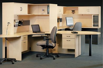 Picture of 2 Person Shared L Shape Office Desk Workstation with Filing and Corner Overhead Storage