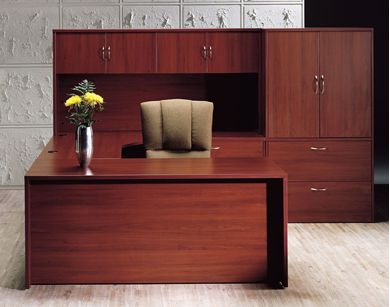 "Picture of 72"" U Shape Curve Office Desk Workstation with Overhead and Lateral Bookcase Storage"