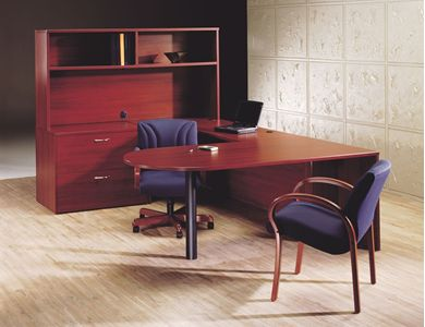 "Picture of 72"" U Shape D Top Office Desk Workstation with Lateral Filing and Open Overhead Storage"