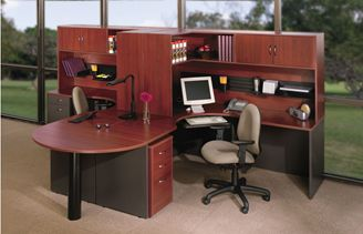 Picture of 2 Person Shared Curved Office Desk Workstation with Filing and Corner Overhead Storage