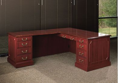 "Picture of 66"" Traditional L Shape Office Desk with Filing Pedestals"