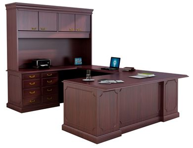 "Picture of Traditional 72"" U Shape Office Desk Workstation with Closed Overhead Storage"