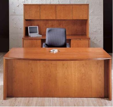 Picture of Veneer Executive Bow Front Desk with KneeSpace Credenza with Overhead Storage