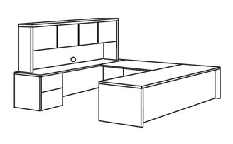 "Picture of Veneer 72"" U Shape Office Desk Workstation with Overhead Storage Hutch"