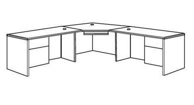 Picture of Veneer Corner L Shape Office Desk Workstation with Filing Pedestals