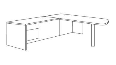 """Picture of Veneer 72"""" L Shape D Top Office Desk Workstation with Filing Pedestal"""