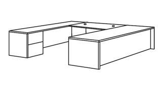 """Picture of Veneer 72"""" U Shape Office Desk Workstation with Filing Pedestal"""