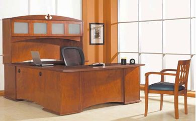 "Picture of Veneer 72"" U Shape Office Desk Workstation with Frosted Door Overhead Storage Hutch"