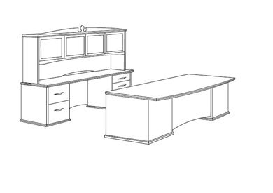 "Picture of Veneer 72"" Executive Bow Front Office Desk with Knee Space Credenza and Frosted Door Overhead Storage Hutch"