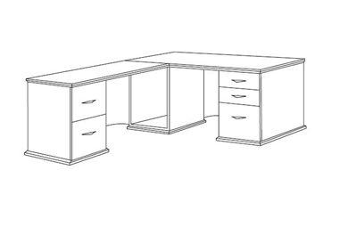 """Picture of Veneer 72"""" L Shape Office Desk Workstation with Filing Pedestals"""