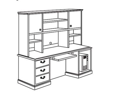 """Picture of Traditional Veneer 72"""" Computer Credenza Workstation with Overhead Storage"""