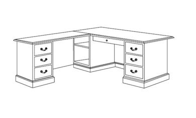 """Picture of Traditional Veneer 72"""" L Shape Office Desk with Filing Pedestals"""