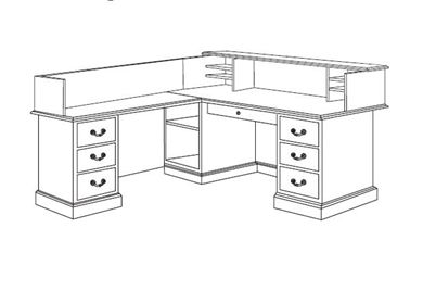 "Picture of Traditional Veneer 72"" L Shape Reception Desk Workstation with Filing Pedestals"